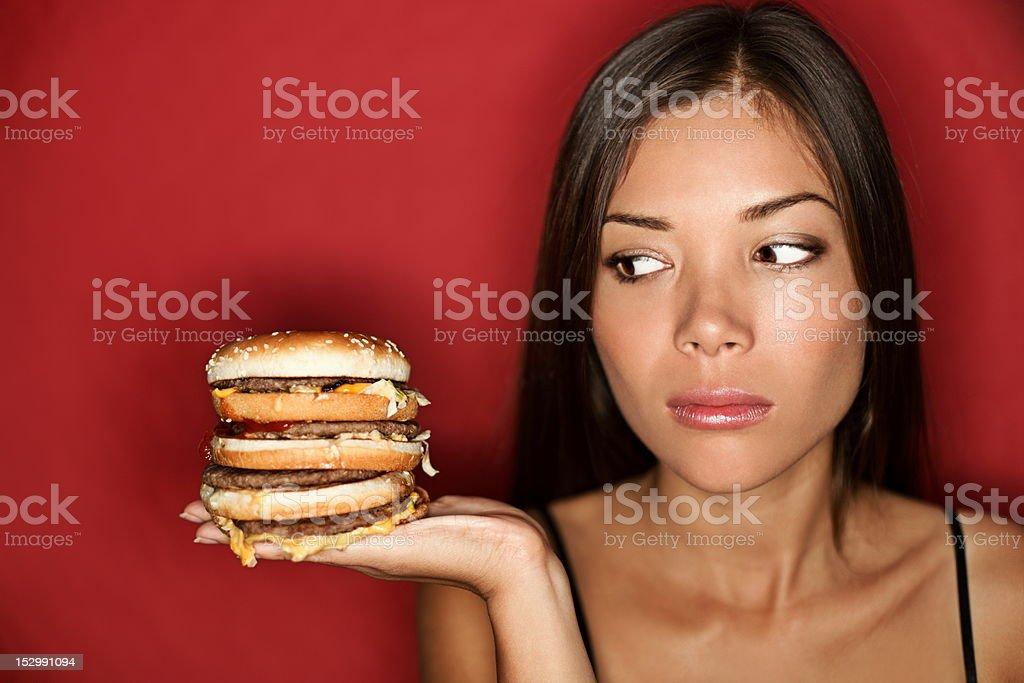 Unhealthy Junk food woman royalty-free stock photo