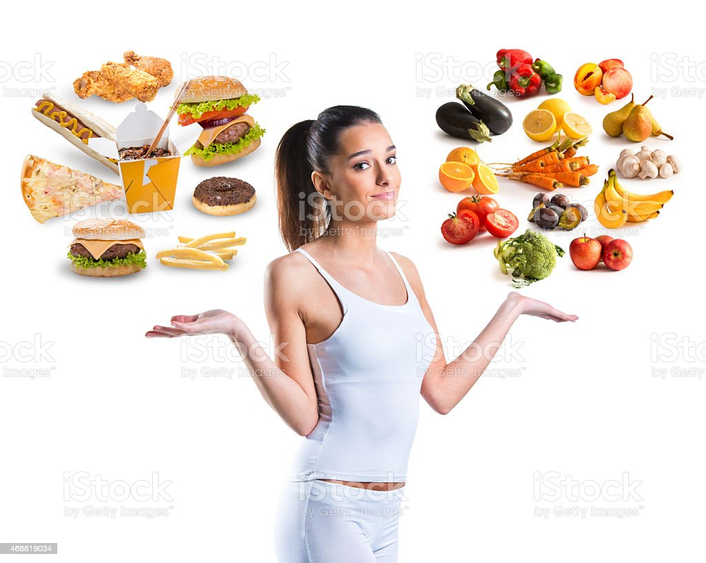 Unhealthy vs healthy food on white background