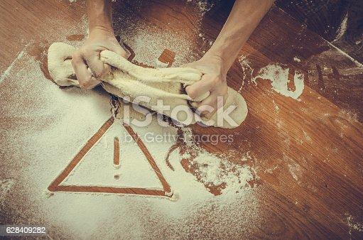 628409126istockphoto Unhealthy white flour or dough 628409282