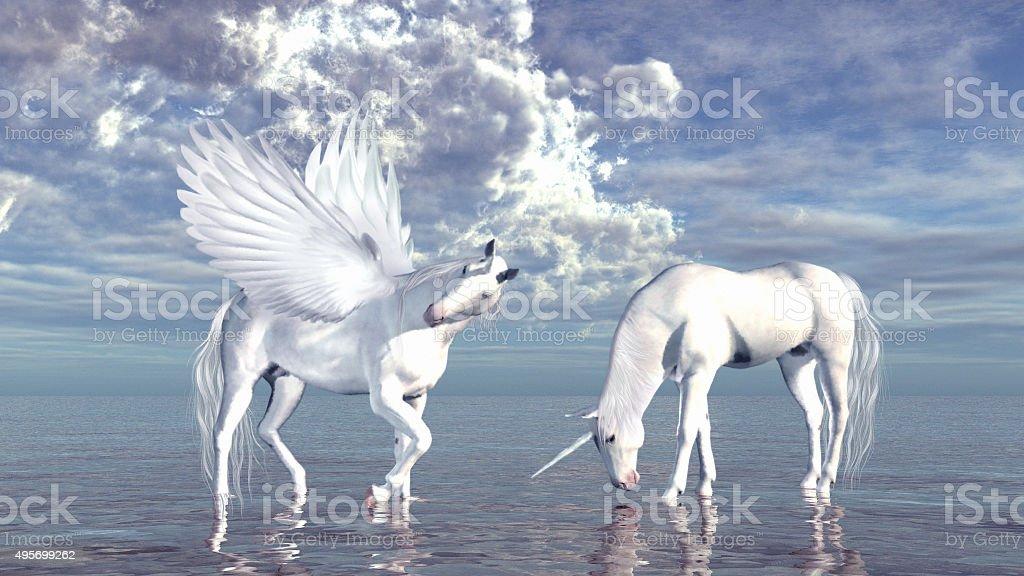 Unicorn and pegasus stock photo