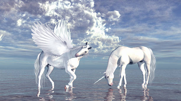 unicorn and pegasus - pegasus stock photos and pictures