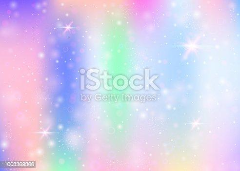istock Unicorn background with rainbow mesh. 1003369366