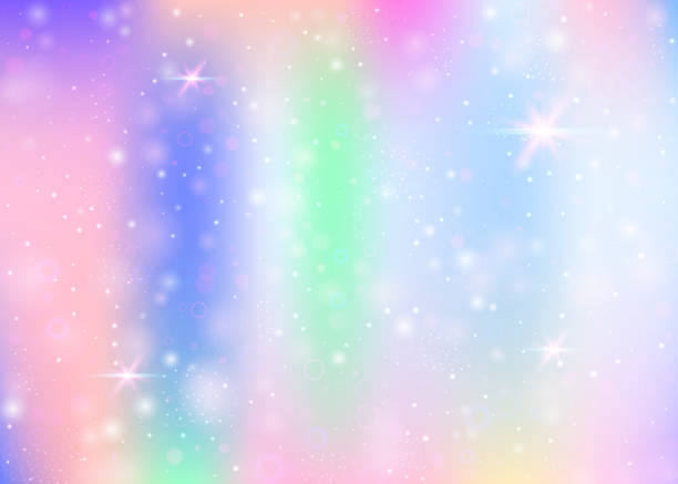 Unicorn background with rainbow mesh. stock photo