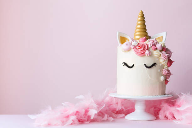 Unicorn Cake On A Cakestand Stock Photo