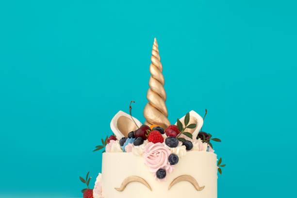 Unicorn cake with copy space to side stock photo