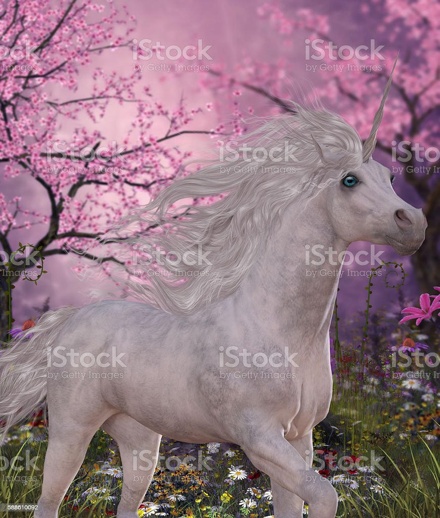 Unicorn Cherry Blossom Glen stock photo