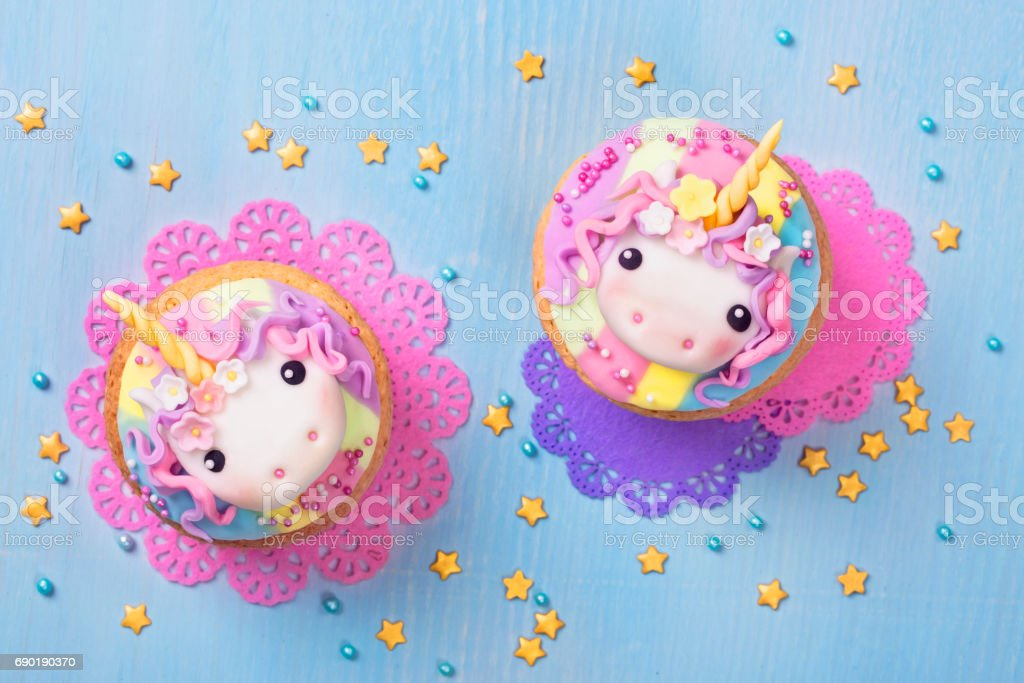 Unicorn cupcake stock photo