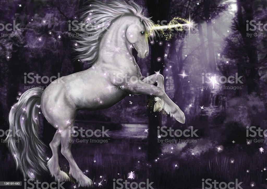 Unicorn Dancing in the Moonlight stock photo