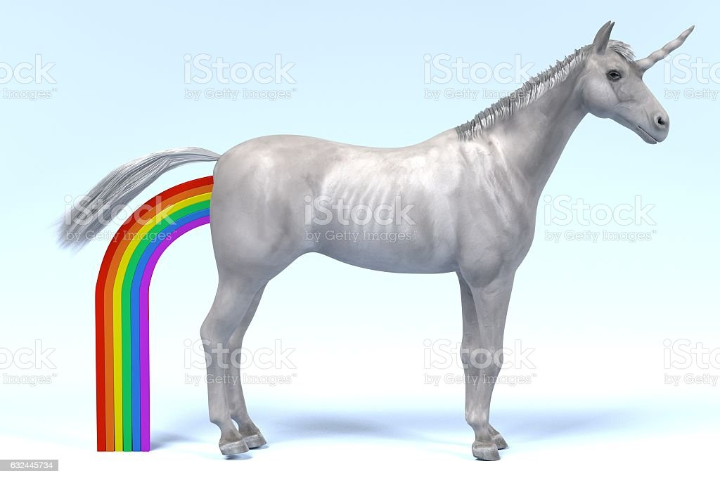 unicorn defecates rainbow stock photo