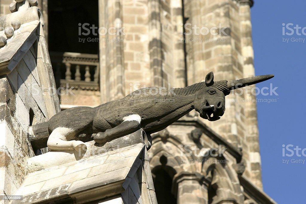 Unicorn Gargoyle Barcelona Cathedral royalty-free stock photo