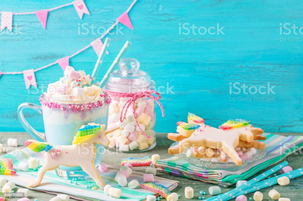 Unicorn hot chocolate stock photo