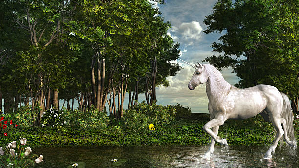 unicorn in a magic forest - unicorns stock photos and pictures