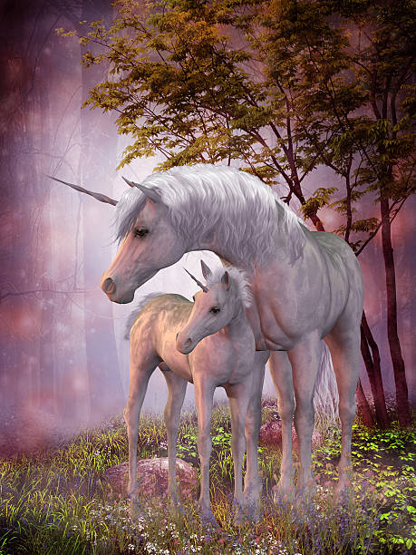 unicorn mare and foal - unicorns stock photos and pictures
