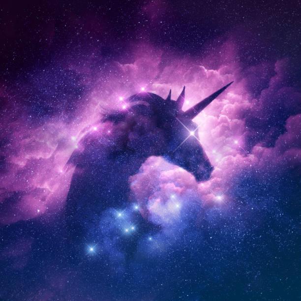 unicorn nebula background - unicorns stock photos and pictures