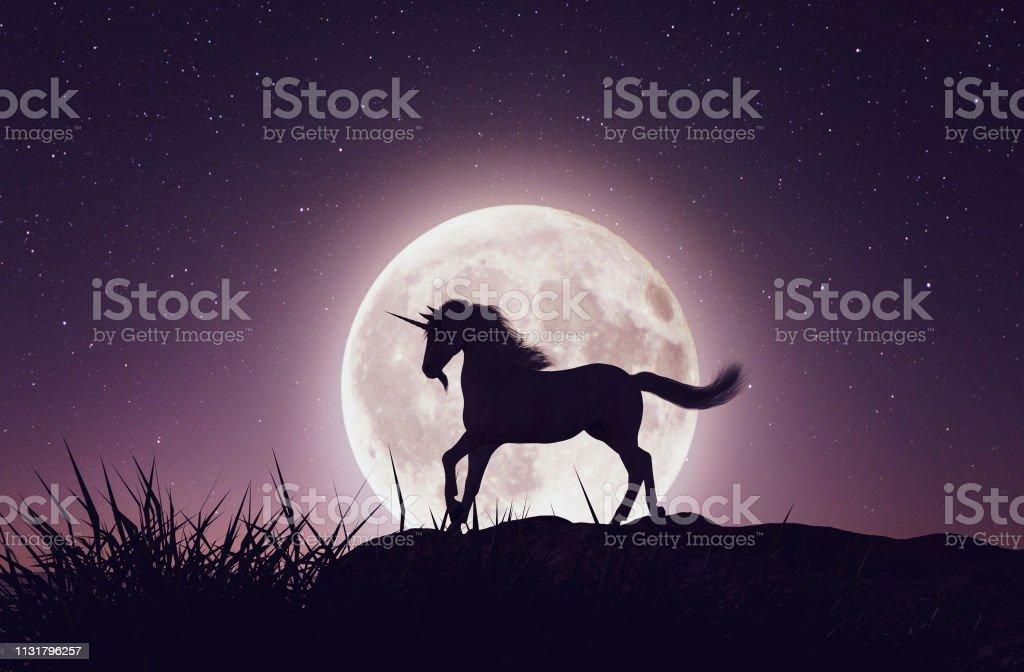 Unicorn Unicorn with the moonlight,3d rendering Animal Stock Photo