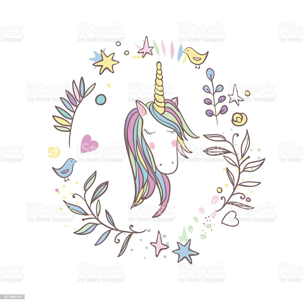 Unicorn Rainbow pattern stock photo