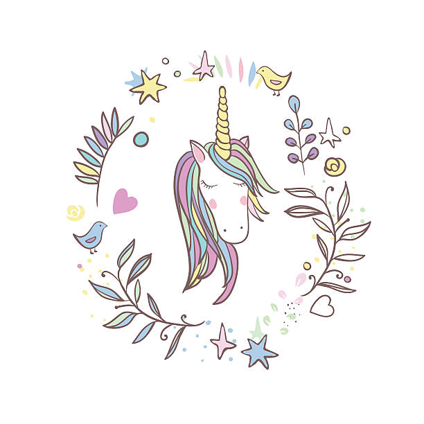 unicorn rainbow pattern - unicórnio - fotografias e filmes do acervo
