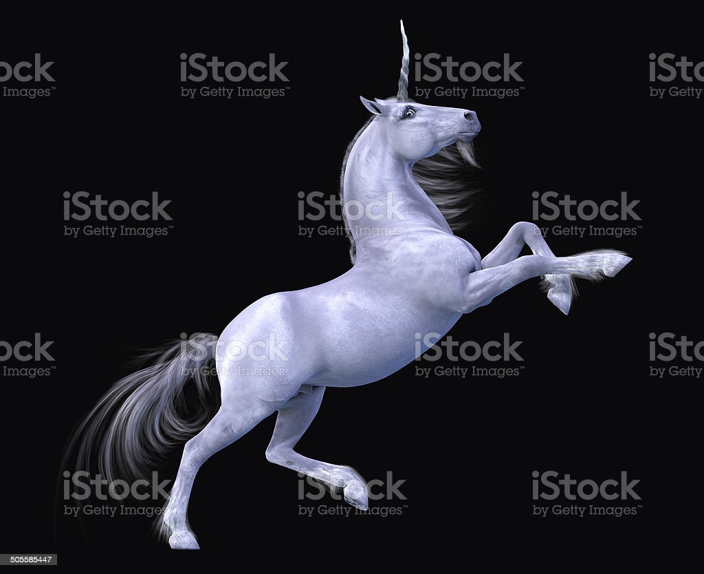 Unicorn Rearing Black Background stock photo