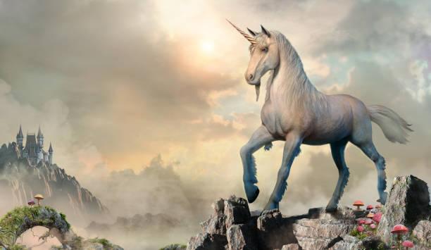 unicorn scene 3d illustration - unicorns stock photos and pictures