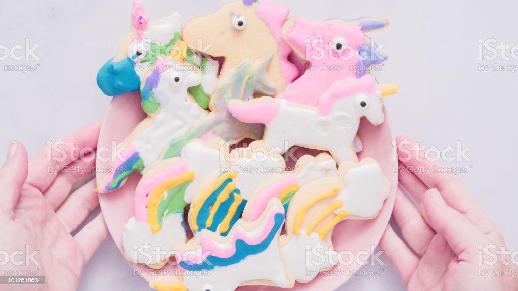 Unicornio En Forma De Galletas De Azúcar Decoradas Con