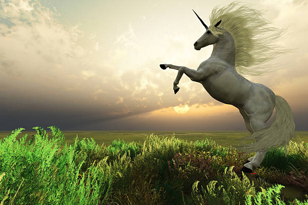 unicorn stag - unicorns stock photos and pictures