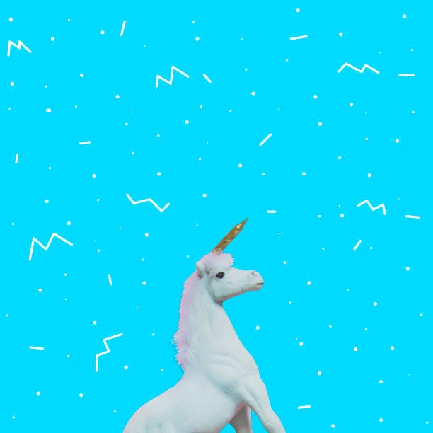 unicorn with golden horn on blue background - vaporwave foto e immagini stock