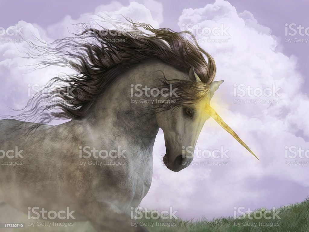 Unicorn with Magic Horn stock photo