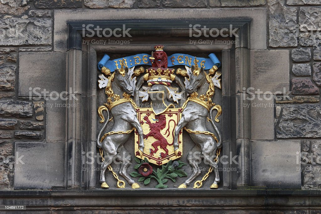 Unicorns supporter of Scotland arms stock photo