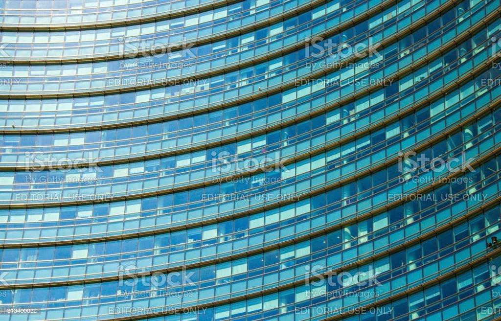 Unicredit bank skyscraper, the tallest skyscraper in Milan. Gae Aulenti square. Milan Porta Garibaldi district. stock photo