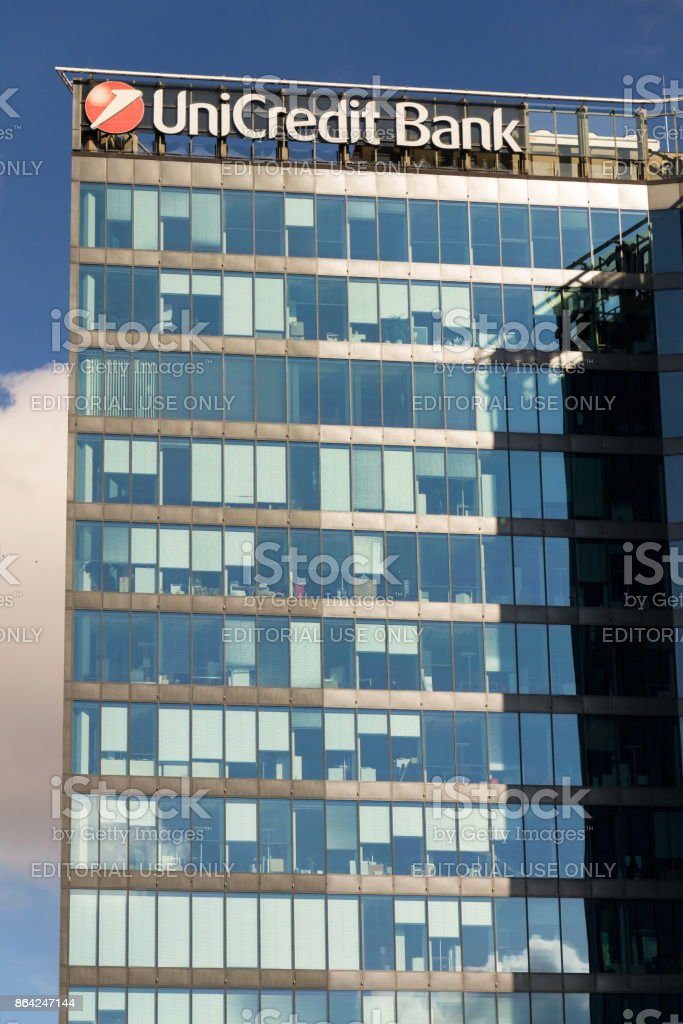UniCredit Group banking company logo on branch building royalty-free stock photo