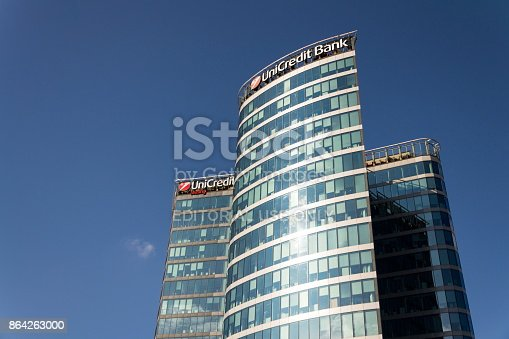Unicredit Group Banking Company Logo On Branch Building Stock Photo & More Pictures of Architecture