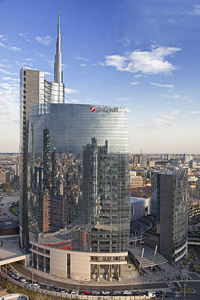 Unicredit Tower at sunset in Milan, Italy. Milan, Italy - September 30, 2015: Unicredit Tower seen at sunset UniCredit stock pictures, royalty-free photos & images