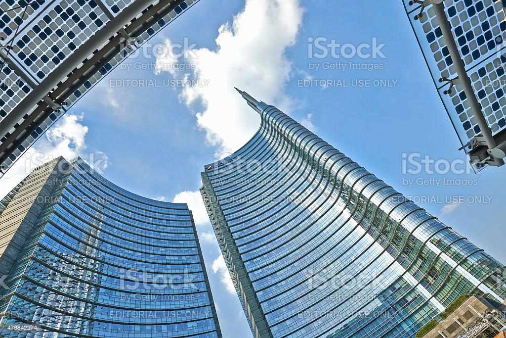 Unicredit Tower in piazza Aulenti stock photo