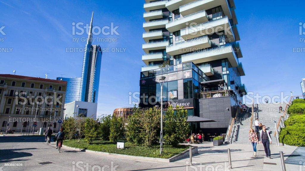 Unicredit tower, seen from Amerigo Vespucci street, Milan, Italy - foto stock