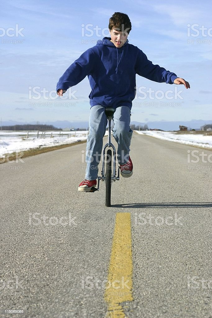 unicycle balance royalty-free stock photo