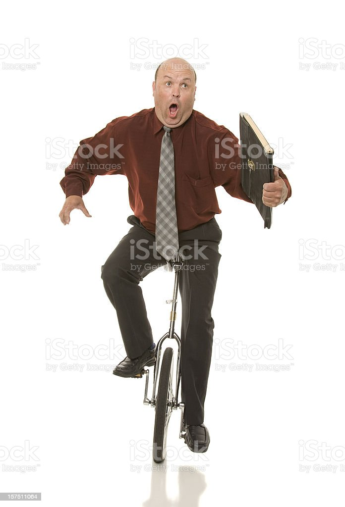 Unicycle Business Man royalty-free stock photo