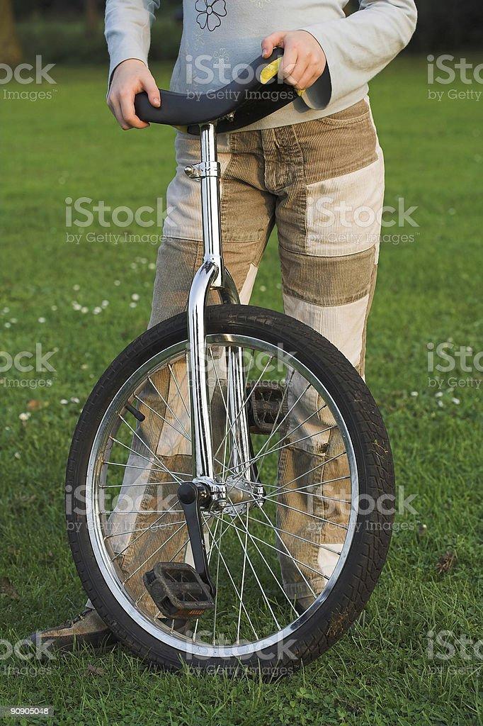 Unicycle girl royalty-free stock photo