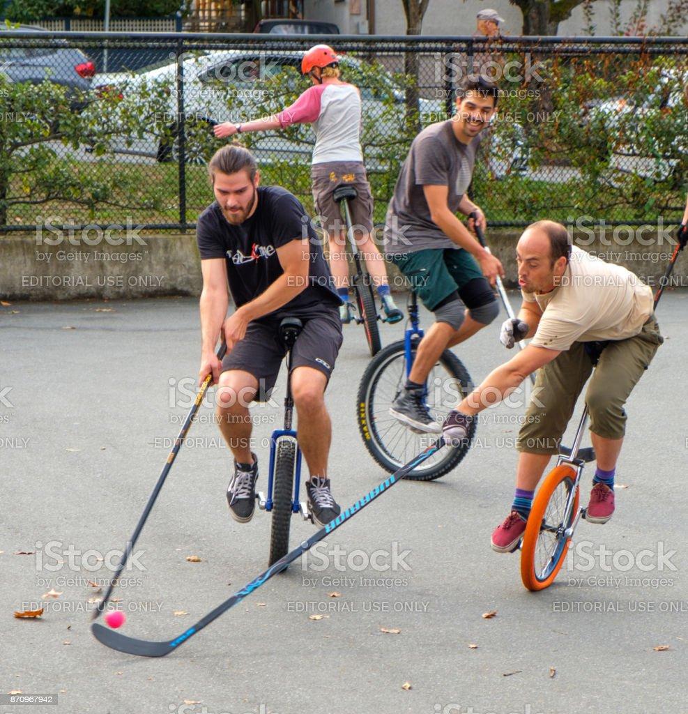 Unicycle Hockey stock photo