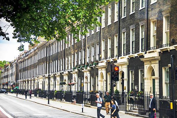Unidentifaid people near Arosfa hotel .Bloomsbury district. London stock photo