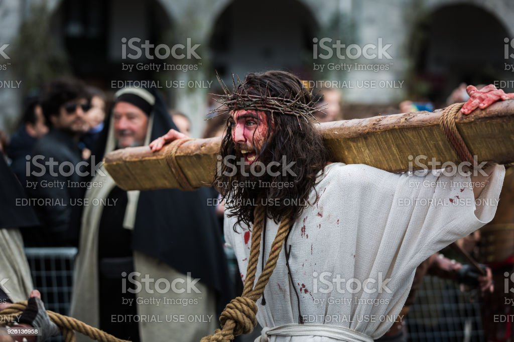 Unidentified actor, in the representation of the living passion stock photo