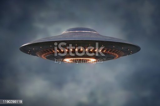 Unidentified flying object - UFO. Science Fiction image concept of ufology and life out of planet Earth. Clipping Path Included.