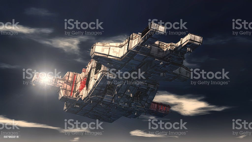 Unidentified flying object. Futuristic spaceship. stock photo