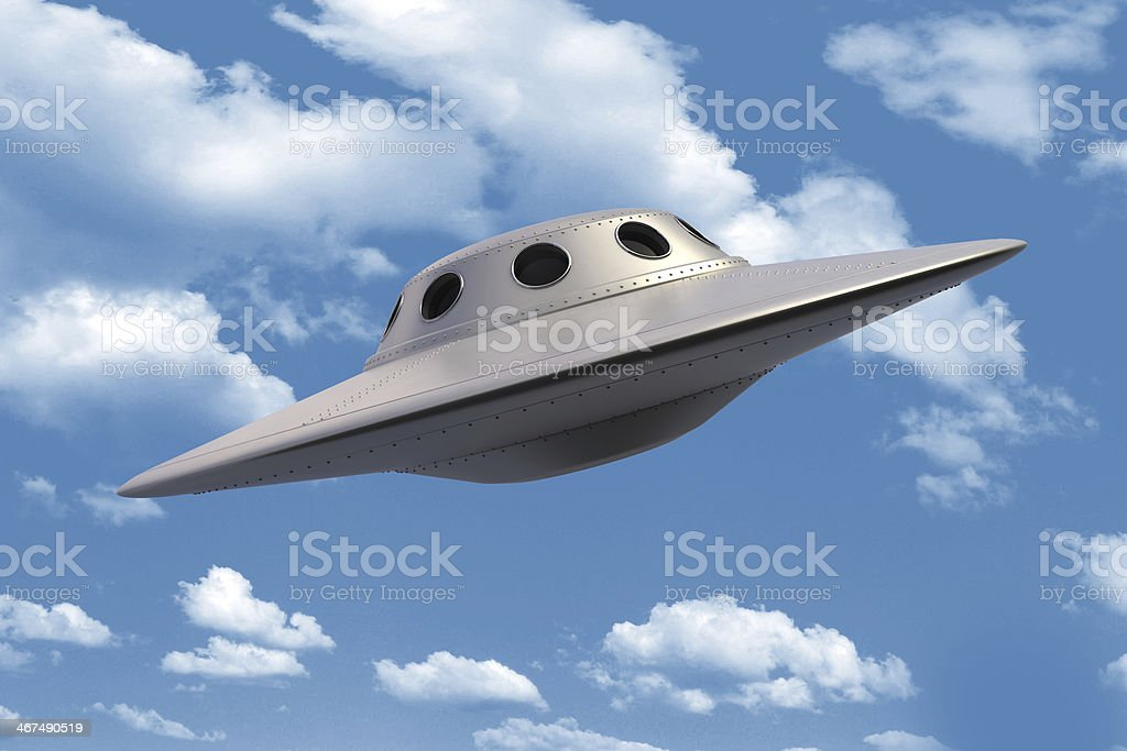 Unidentified flying object in the sky stock photo