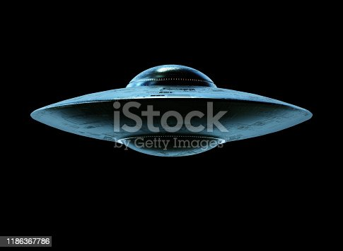 Unidentified flying object UFO with clipping path included. 3D illustration.