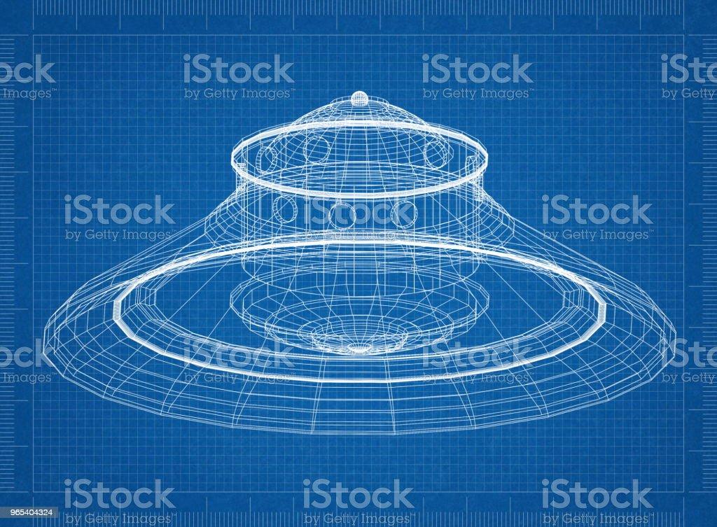 Unidentified flying object - UFO Architect blueprint zbiór zdjęć royalty-free