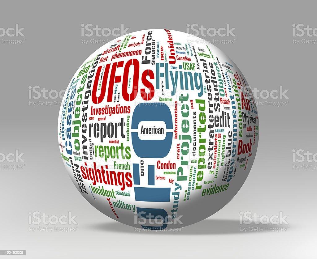 Unidentified Flying Object - UFO word cloud stock photo