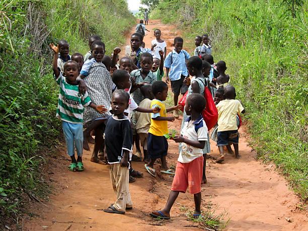 Unidentified Ghanaian Village Pupils stock photo