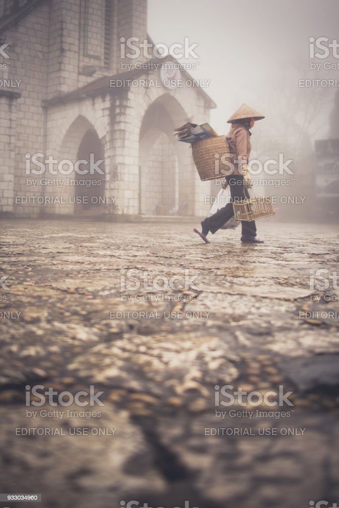 Unidentified Hmong woman in Sapa, Vietnam. Sapa is a mountain town in Vietnam and Hmong are the 8th largest ethnic group in Vietnam stock photo