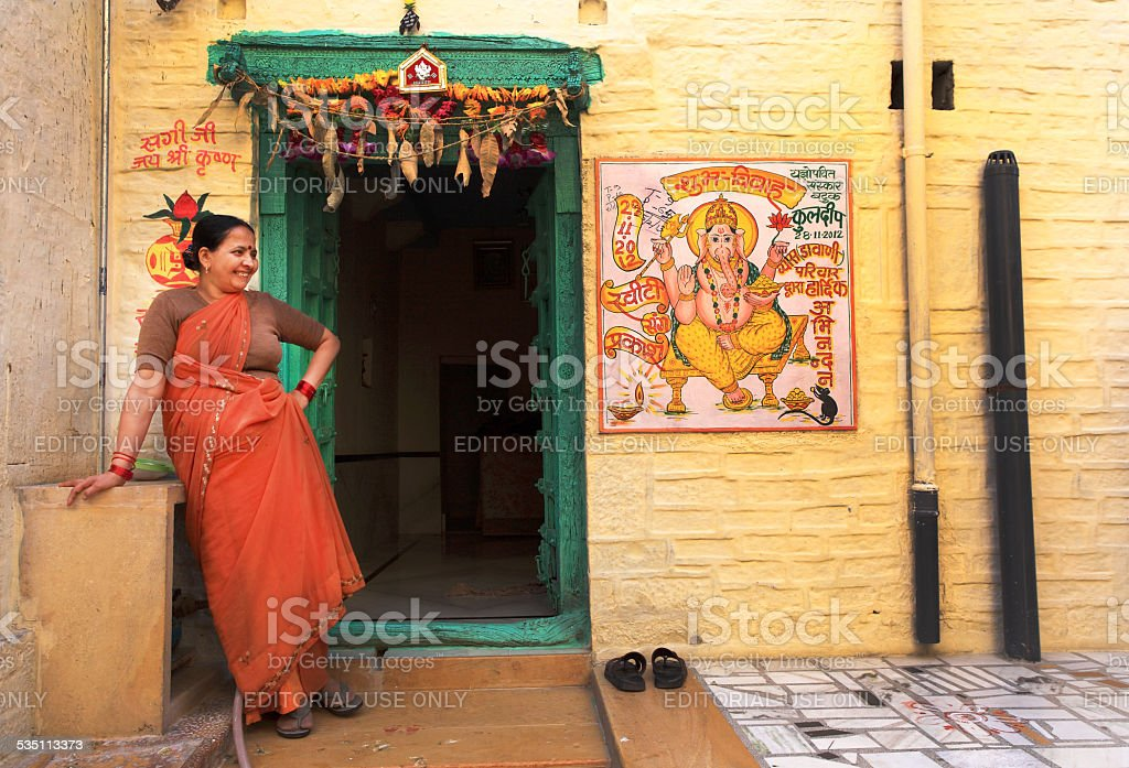 Unidentified Indian woman lives in Jaisalmer Fort stock photo
