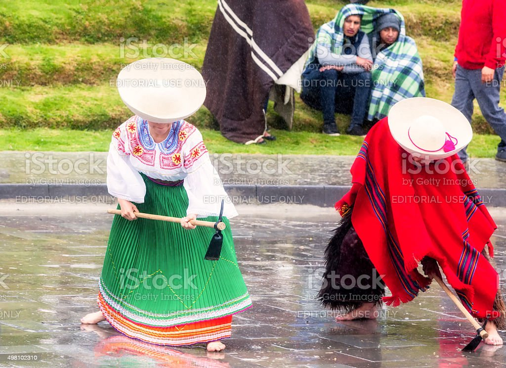 Unidentified Indigenous Couple Honoring Diets Inti stock photo
